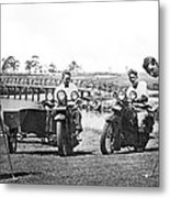 Motorcycles Set Golf Record Metal Print