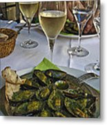 Moules And Chardonnay Metal Print by Allen Sheffield