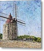 Moulin De Daudet Fontvieille France On A Texture Dsc01833 Metal Print