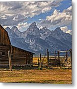 Moulton Barn Panorama - Grand Teton National Park Wyoming Metal Print