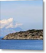 Mount Athos In Clouds View From Sithonia Greece Metal Print