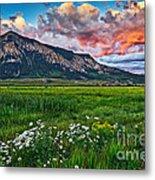 Mount Crested Butte Summer Sunset Metal Print
