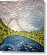 Mount Hood Night Sky Metal Print