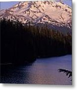 Mount Hood With Kids In Row Boat Silhouetted Metal Print