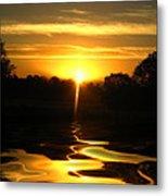 Mount Lassen Sunrise Gold Metal Print