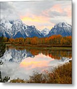 Mount Moran Reflection Sunset Metal Print