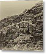 Mount Of The Temptation Monestary Jericho Israel Antiqued Metal Print