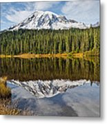 Mount Rainier And Reflection Lakes In The Fall Metal Print