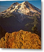 Mount Rainier At Sunset With Big Boulders In Foreground Metal Print