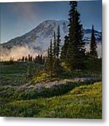 Mount Rainier Evening Fog Metal Print