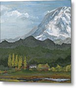Mount Rainier From Lake Rap John  Metal Print