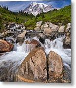 Mount Rainier Glacial Flow Metal Print by Adam Romanowicz