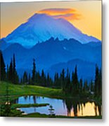 Mount Rainier Goodnight Metal Print by Inge Johnsson