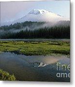Mount Rainier Shrouded In Fog Metal Print