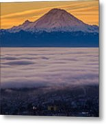 Mount Rainier Sunrise Mood Metal Print