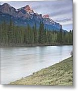 Mount Rundle And The Bow River At Sunrise Metal Print