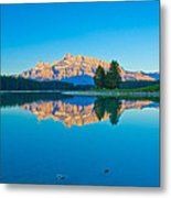 Mount Rundle At Jack Lake Metal Print