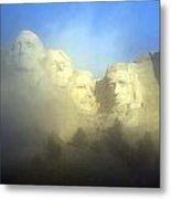 Mount Rushmore National Memorial Through The Fog  Metal Print