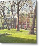Mount Street Gardens, London Oil On Canvas Metal Print