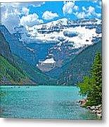 Mount Victoria Rises Above Lake Louise In Banff Np-alberta Metal Print