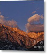 Mount Whitney In Clouds Alabama Hills Eastern Sierras California  Metal Print