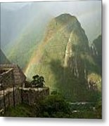 Mountain And Train Below Along Urubamba Metal Print