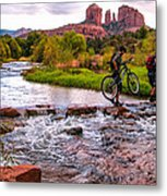 Mountain Bikers Crossing Cathedral Falls Metal Print