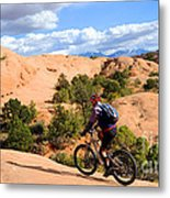 Mountain Biking Moab Slickrock Trail - Utah Metal Print by Gary Whitton