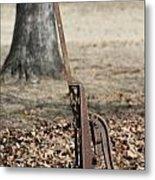 Mountain Bluebird On Well Pump Metal Print