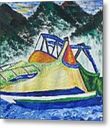 Mountain Boating Metal Print