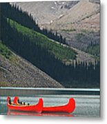 Mountain Canoes Metal Print