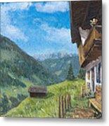 Mountain Farm In Austria Metal Print