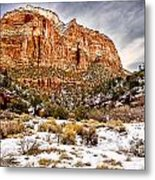 Mountain In Winter Metal Print
