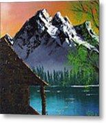 Mountain Lake Cabin W Eagles Metal Print
