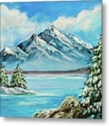 Mountain Lake In Winter Original Painting Forsale Metal Print