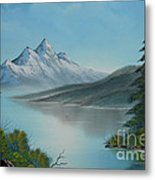 Mountain Lake Painting A La Bob Ross Metal Print