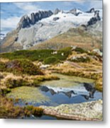 Mountain Landscape Water Reflection Swiss Alps Metal Print