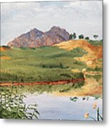Mountain Landscape With Egret Metal Print