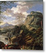 Mountain Landscape With Figures Metal Print