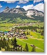 Mountain Landscape With Village In The Allgaeu Alps Austria Metal Print