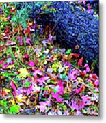 Mountain Leaves And Log Metal Print