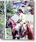 Mountain Man On A Horse Metal Print