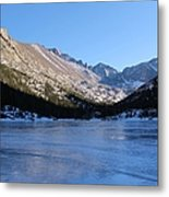 Mountain Reflection On Frozen Lake Metal Print