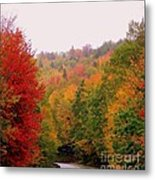 Mountain Road In Fall Metal Print