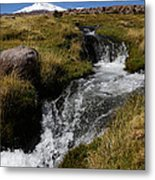 Mountain Stream And Guallatiri Volcano Metal Print