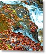 Mountain Stream Waterfall Autumn Metal Print