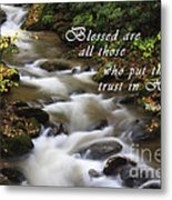 Mountain Stream With Scripture Metal Print
