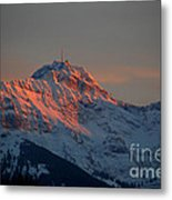 Mountain Sunset In Switzerland Metal Print