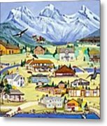 Mountain Town Of Canmore Metal Print