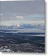 Mountain View And Clouds Metal Print